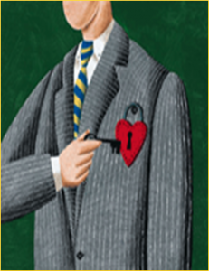 man in suit with heart