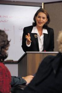 business woman speaking
